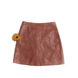 Zara Basic Shiny Mini Skirt Rose Blush Pink M EUC